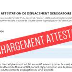 CORONAVIRUS : NOUVELLE ATTESTATION DE DEPLACEMENT DEROGATOIRE